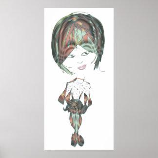 poster digital del arte del chica del río del Srta