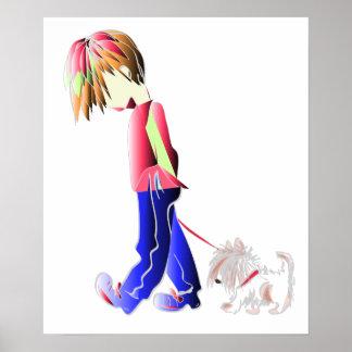Poster digital del arte del perro del muchacho que