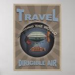 Poster dirigible del World Travel del vintage del