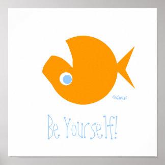 Poster disidente divertido lindo del Goldfish Póster