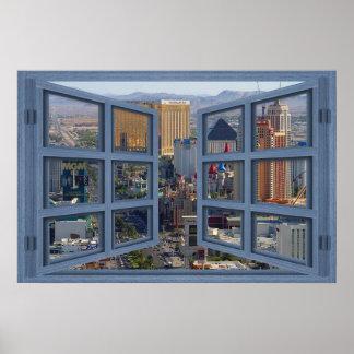 Poster diurno de la ventana abierta del cristal de