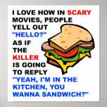 Poster divertido asustadizo de la película hola