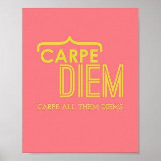 Poster divertido de Carpe Diem en rosa y oro