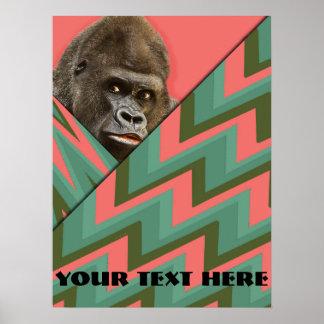 Poster divertido de Chevron del verde del rosa del