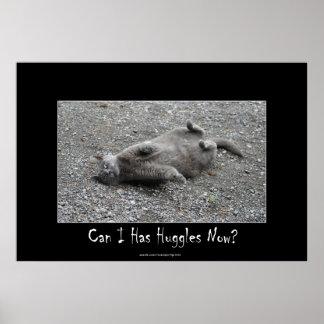 Poster divertido de Huggles del gato gris lindo