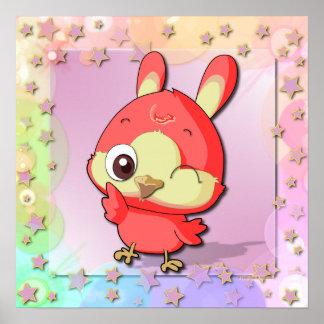 Poster divertido de Kawaii del personaje de dibujo