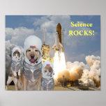 Poster divertido de la ciencia de los astronautas