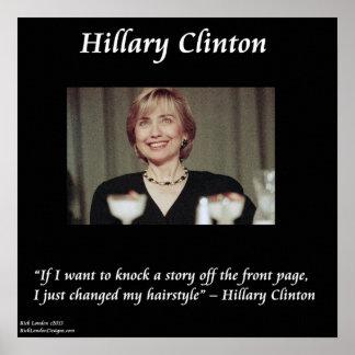 Poster divertido de la cita del peinado de Hillary