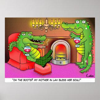 Poster divertido de la guarida del dibujo animado