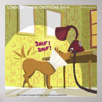 Poster divertido de la lámpara el oler del perro W