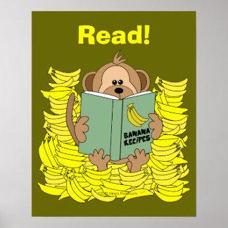Poster divertido de la lectura del mono del dibujo