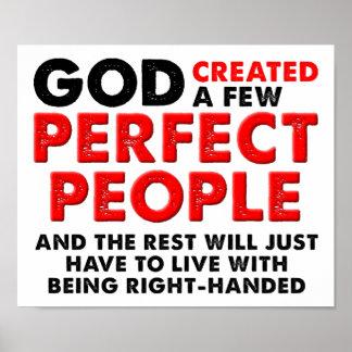 Poster divertido de la mano izquierda perfecta