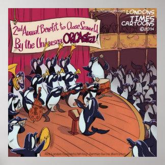 Poster divertido de la orquesta de la ballena de l