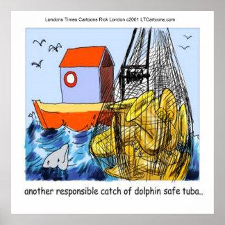 Poster divertido de la tuba Delfín-Segura