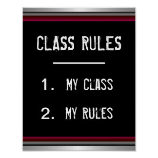 Poster divertido de las reglas de clase