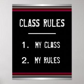 Poster divertido de las reglas de clase póster