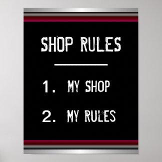 Poster divertido de las reglas de tienda