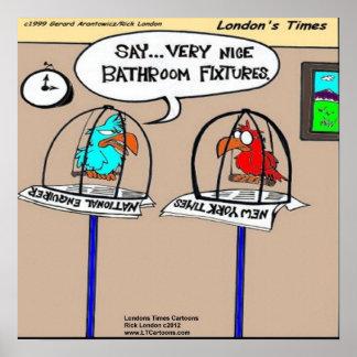 Poster divertido de los accesorios de cuarto de ba