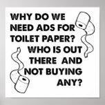 Poster divertido de los anuncios del papel higiéni