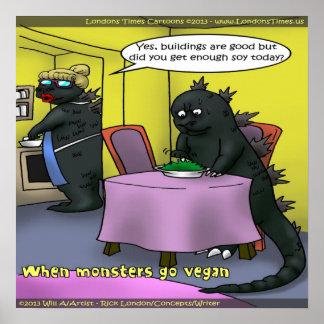 Poster divertido de los monstruos del vegano