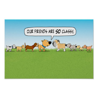 Poster divertido de los perros el oler del extremo
