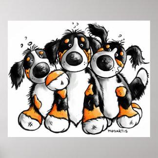 Poster divertido de tres de Bernese perros de