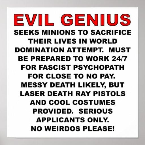 Poster divertido del anuncio de compra del malvado