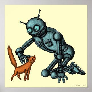 Poster divertido del arte del robot y del gato