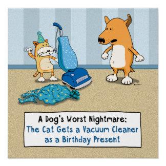 Poster divertido del aspirador del gato y del