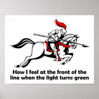 Poster divertido del caballero de la luz verde