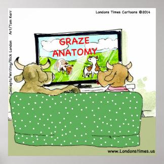 Poster divertido del dibujo animado de la vaca TV