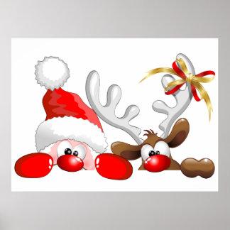 Poster divertido del dibujo animado de Santa y del Póster