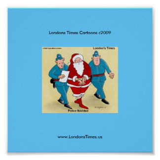 Poster divertido del dibujo animado del navidad de
