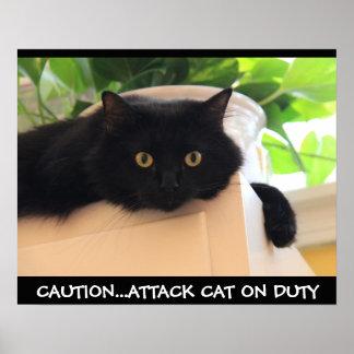 Poster divertido del gato negro, gato del ataque d
