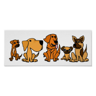 Poster divertido del grupo del perro de perrito de