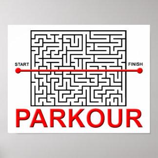Poster divertido del laberinto de Parkour
