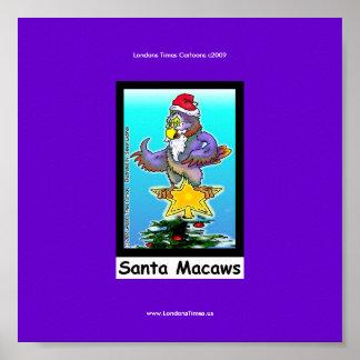 Poster divertido del pájaro del navidad del dibujo