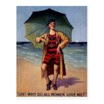 poster divertido del paraguas del bañador de mar postal