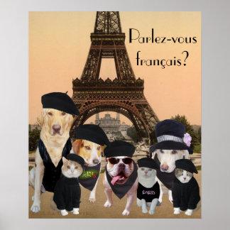 Poster divertido del profesor francés de los