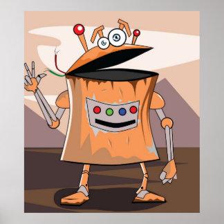 Poster divertido del robot póster