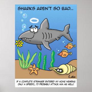 Poster divertido del tiburón del dibujo animado
