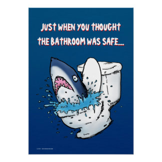 Poster divertido del tiburón del retrete