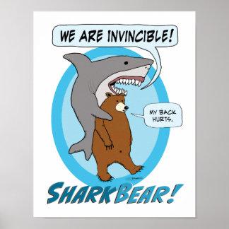 Poster divertido del tiburón y del oso