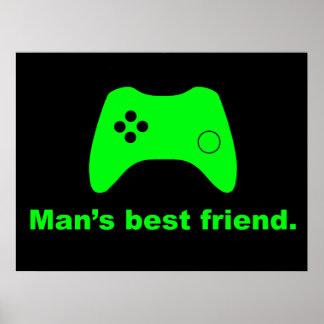 Poster divertido del videojugador del mejor amigo  póster