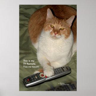 Poster divertido lindo del telecontrol del gato TV Póster