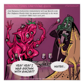 Poster divertido orgánico y de GMO de la fecha