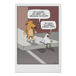 Poster divertido: Perro y pollo