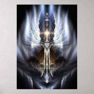 Poster divino ORG del arte del fractal de la cruz