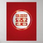 Poster doble chino del símbolo de la felicidad