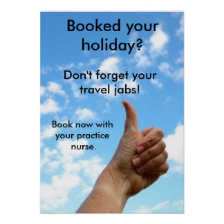 Poster: Don't forget your travel jabs Poster